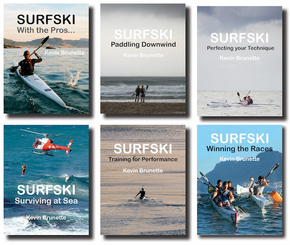 This displays the covers of the six books in the series, from SURFSKI: With the Pros to SURFSKI: Winning the Races.