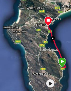 The GPS track shows the path taken on a Miller's Run in False Bay, South Africa. It is a 12km downwind with a SE wind, following a line just inside the freestanding Roman Rock Lighthouse.
