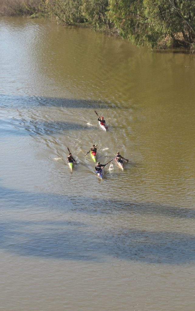 paddle experience - canoeists during the berg river marathon, near picketberg.