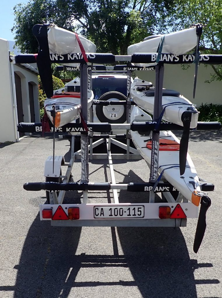 paddle experience - epic V7s loaded on trailer ready for a trip to the breede river.