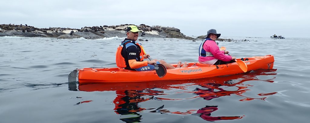 paddle experience - inge and paddling partner on the northern side of duiker island, sheltered from the large SW swell.